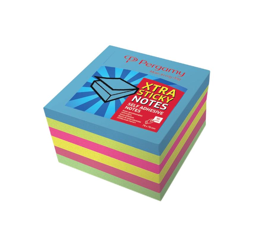 Pergamy Extra Sticky notes, ft 76 x 76 mm, neon , block van  90 vellen, pakketje van 6stuks