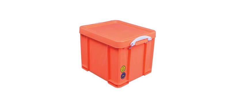 Really Useful Box Opbergbox 35L - oranje met witte handvaten