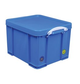 Really Useful Box Opbergbox 35L - neonblauw met witte handvaten