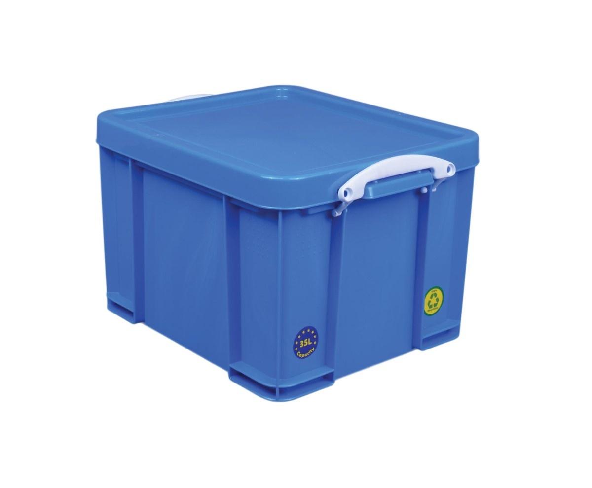 Really Useful Box boîte de rangement 35 litre, rose néon avec poignées blanches - Copy