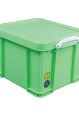 Really Useful Box Opbergbox 35L - neongroen met witte handvaten
