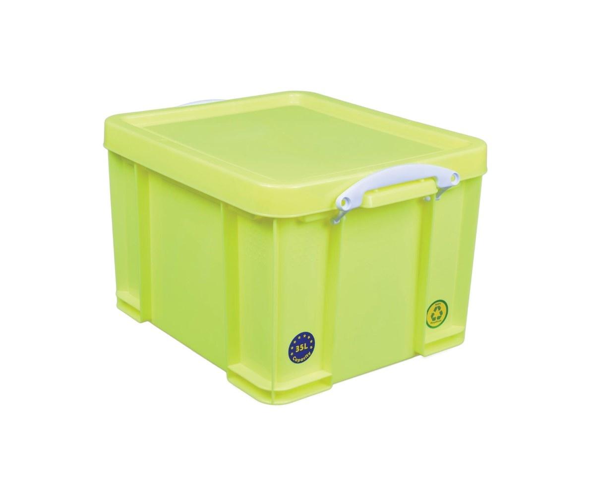 Really Useful Box Opbergbox 35L - neongeel met witte handvaten