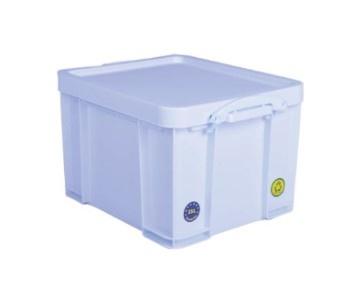 Really Useful Box Opbergbox 35L - wit met witte handvaten