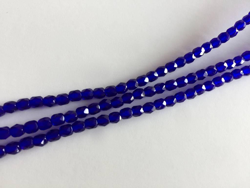 Glasschliffperlen feuerpoliert 4mm, Farbe 28 dark Saphir