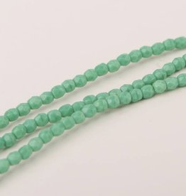 Glasschliffperlen feuerpoliert 4mm, Farbe 50 Green Turquoise Opaque