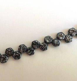 Honeycomb Glasperlen, Farbe Jet tweedy silver