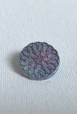 """Metallknopf """"Mandala"""" Ø18 mm, silberfarben-blau-lila"""