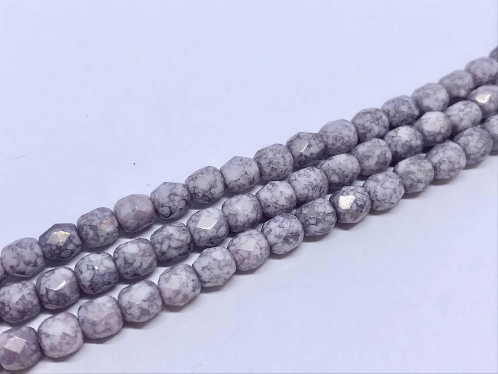 Glasschliffperlen feuerpoliert 4mm, Farbe Lavender Marmor