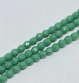 Glasschliffperlen feuerpoliert 4mm, Farbe dark turquoise opaque