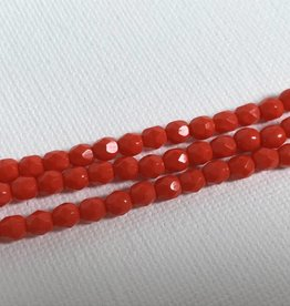 Glasschliffperlen feuerpoliert 4mm, Farbe Cranberry Opaque