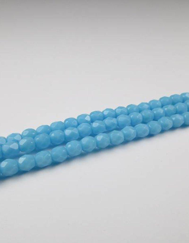 Glasschliffperlen feuerpoliert 4mm, Farbe 33 Aqua light opaque