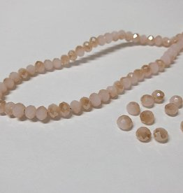 Facettierte Glasperlen Disc 6 x 4 mm, Farbe 08 light rose/beige brown/pearl shine