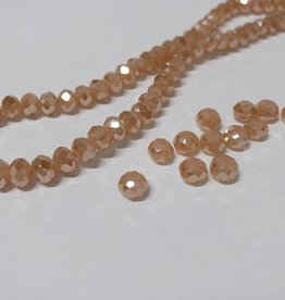 Facettierte Glasperlen Disc 6 x 4 mm, Farbe 09 beige brown/pearl shine
