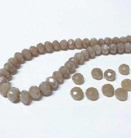 Facettierte Glasperlen Disc 6 x 4 mm, Farbe 16 sand beige opal/pearl shine