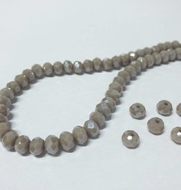 Facettierte Glasperlen Disc 6 x 4 mm, Farbe 17 grey taupe/pearl shine