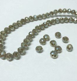 Facettierte Glasperlen Disc 6 x 4 mm, Farbe 19 taupe grey/shine
