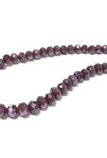 Facettierte Glasperlen Disc 6 x 4 mm, Farbe 38 mauve/purple/pearl shine