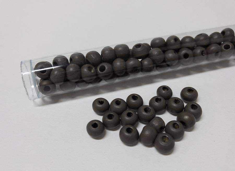 Perlen aus Holz, 6 mm, Farbe 04 anthracite grey
