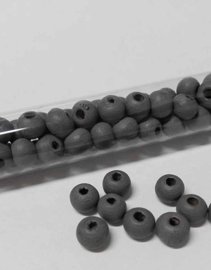 Perlen aus Holz, 6 mm, Farbe 09 dark steel