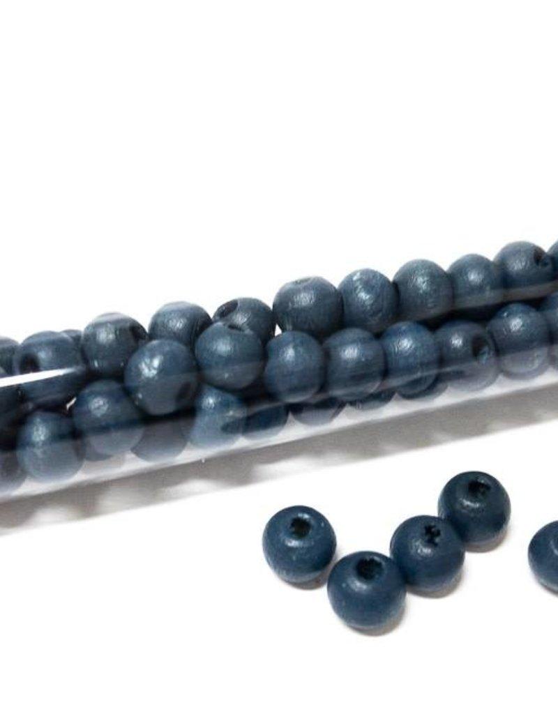 Perlen aus Holz, 6 mm, Farbe B18 dark denim