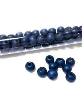 Perlen aus Holz, 6 mm, Farbe B19 royal blue
