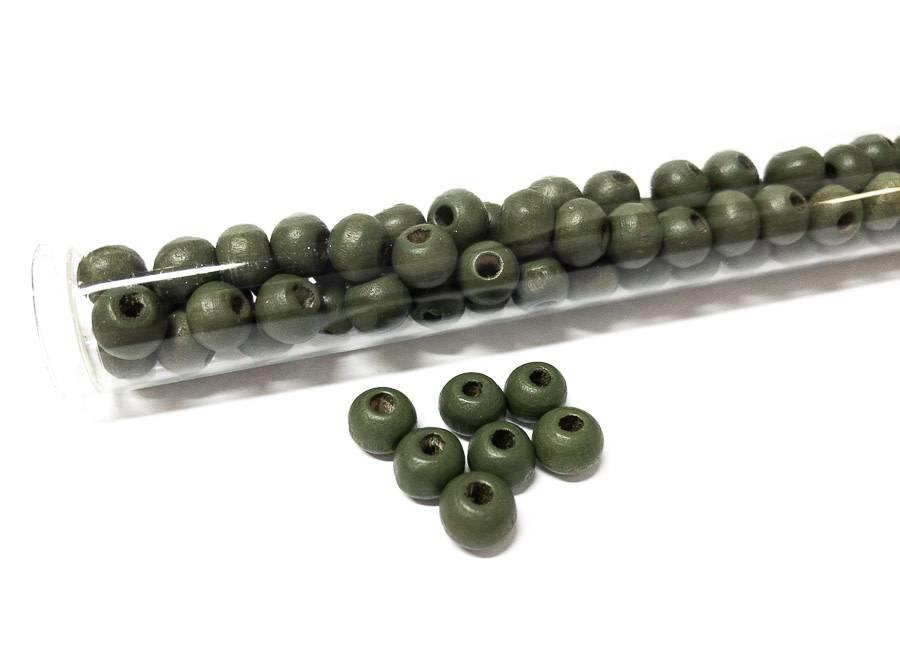 Perlen aus Holz, 6 mm, Farbe B26 palm green