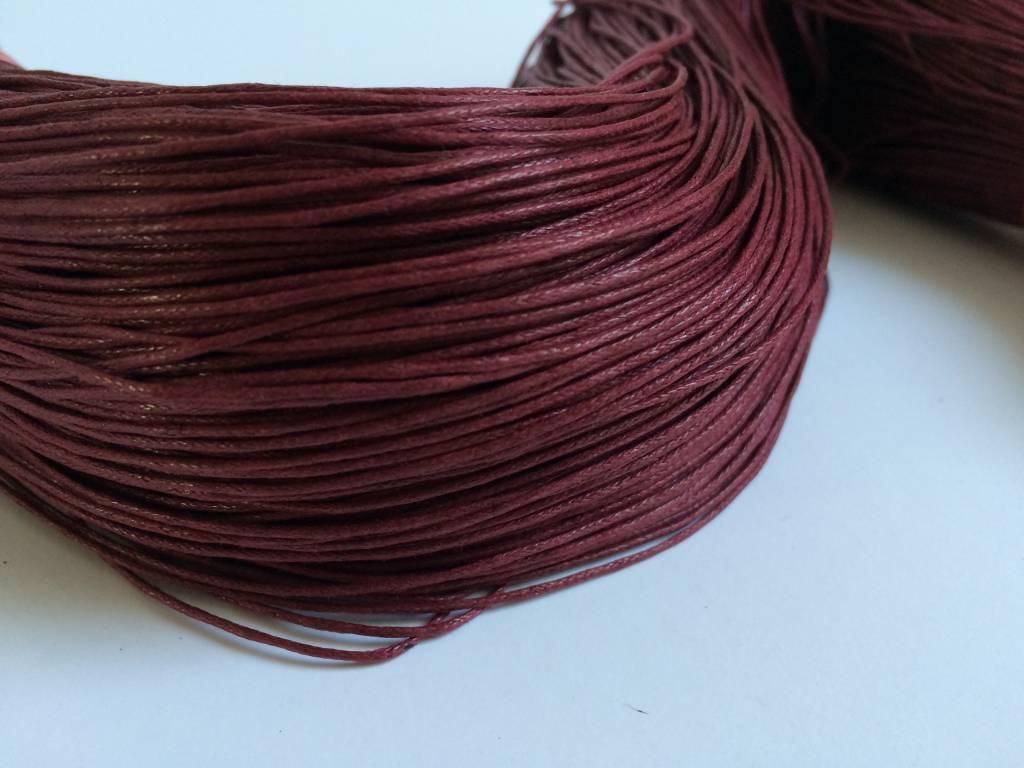 gewachste Baumwollkordel 1mm, Farbe 34 weinrot
