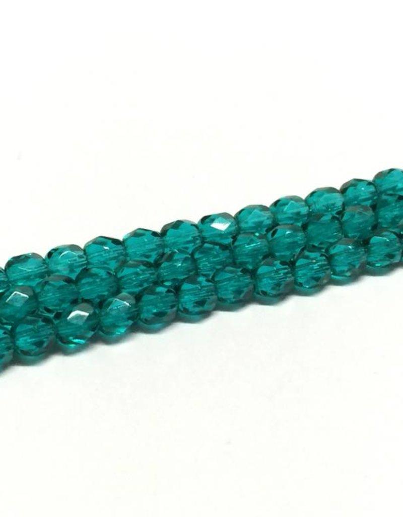 Glasschliffperlen feuerpoliert 4mm, Farbe 46 Green Emerald