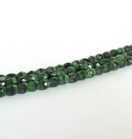 Glasschliffperlen feuerpoliert 4mm, Farbe 43 Green Jet Moonlight