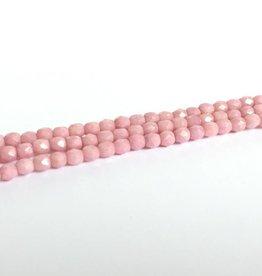 Glasschliffperlen feuerpoliert 4mm, Farbe 97 Chalk White Rose