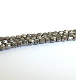 Glasschliffperlen feuerpoliert 4mm, Farbe 18 Chrome