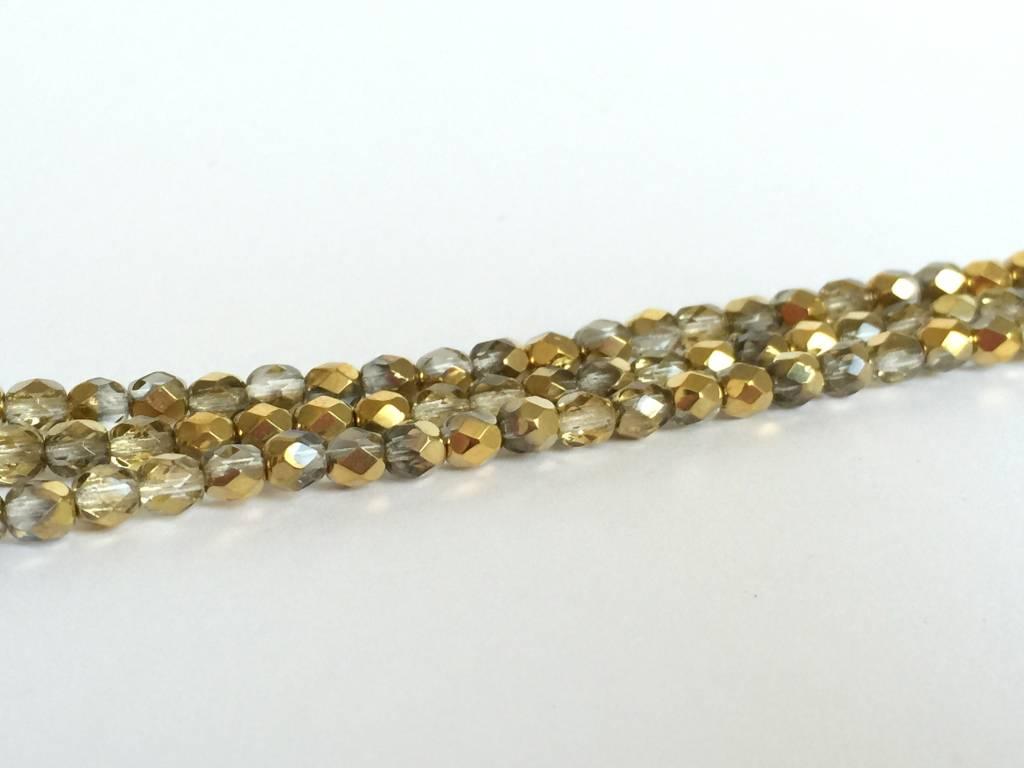 Glasschliffperlen feuerpoliert 4mm, Farbe Brass Ice