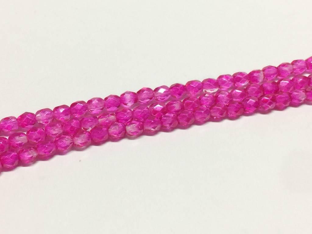 Glasschliffperlen feuerpoliert 4mm, Farbe 82 Crystal Hot Fuchsia