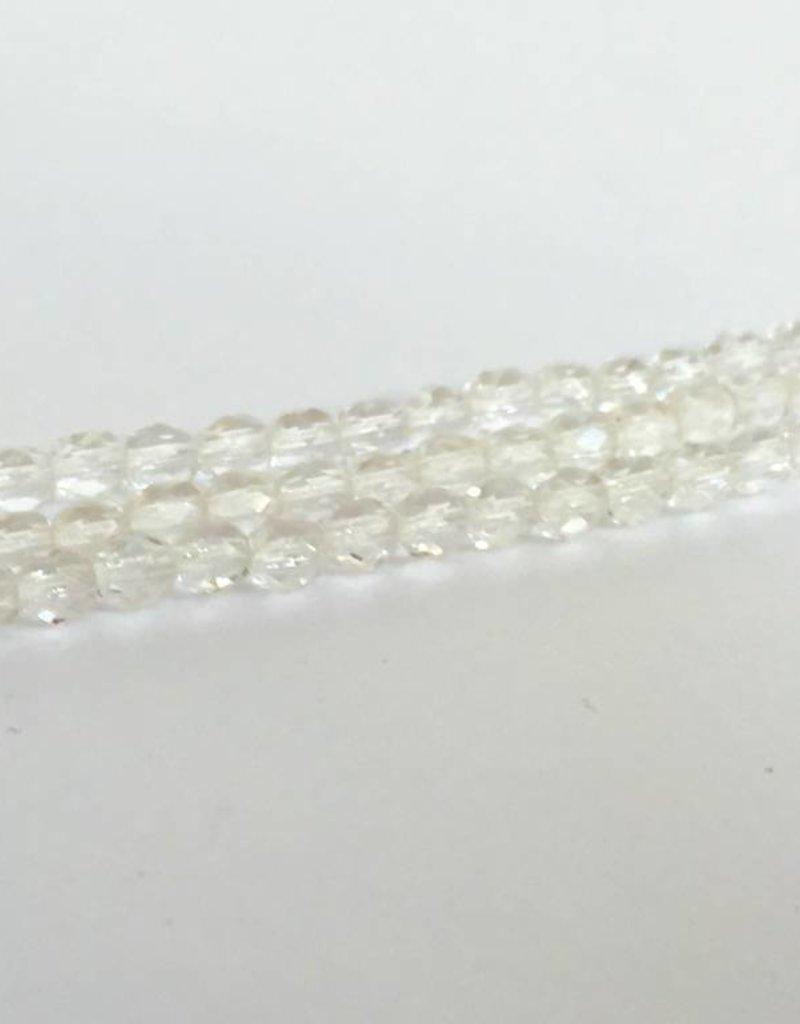 Glasschliffperlen feuerpoliert 4mm, Farbe 08 Crystal