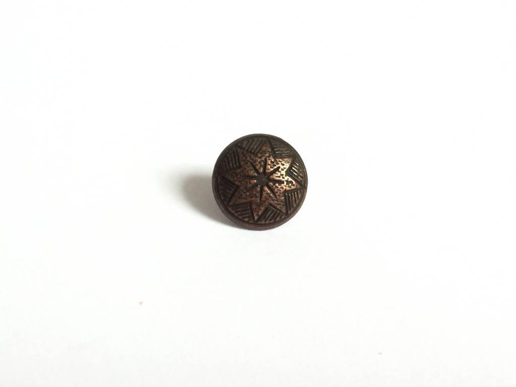 Metallknopf Stern, altkupfer
