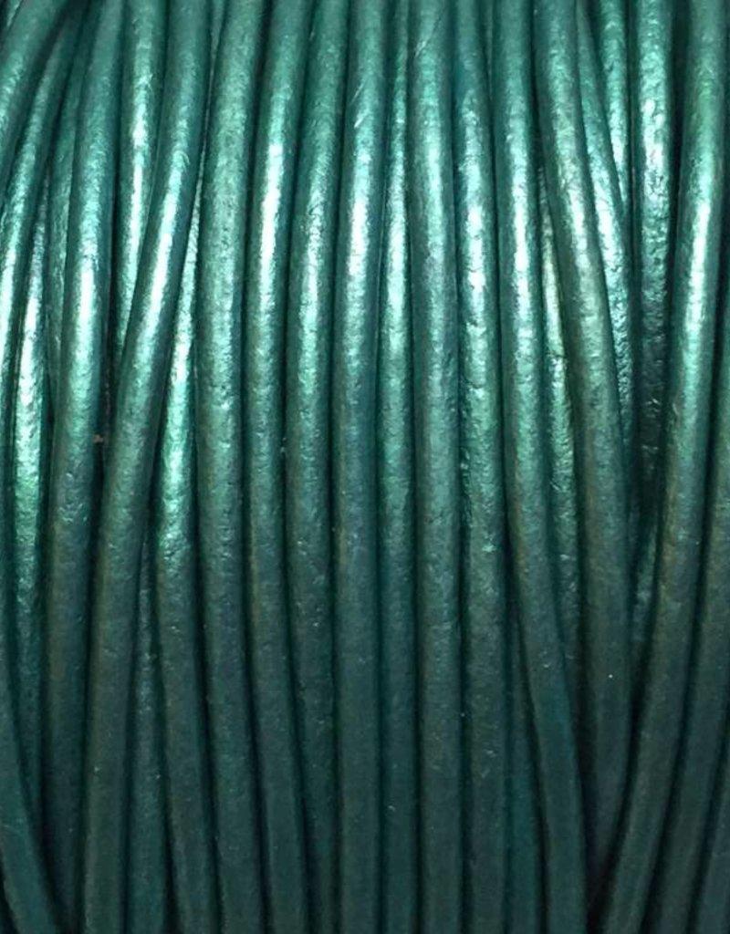 Lederkordel rund Ø 1,5 mm, metallic teal