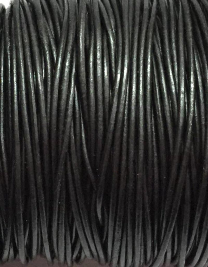 Lederkordel rund Ø 1,5 mm, metallic gunmetal