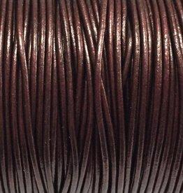 Lederkordel rund Ø 1 mm, metallic maroon