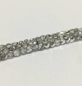 Glasschliffperlen feuerpoliert 4mm, Farbe 11 Crystal/Silver
