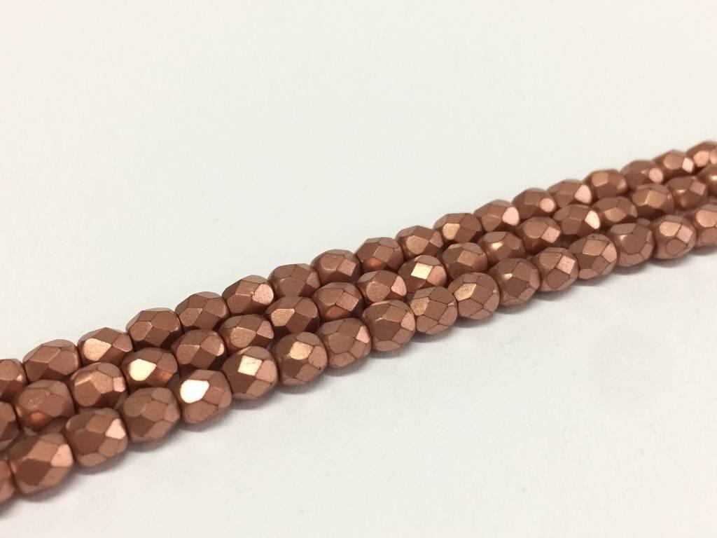 Glasschliffperlen feuerpoliert 4mm, Farbe 69 Copper matt