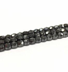 Glasschliffperlen feuerpoliert 6mm, Farbe 19 Hematite