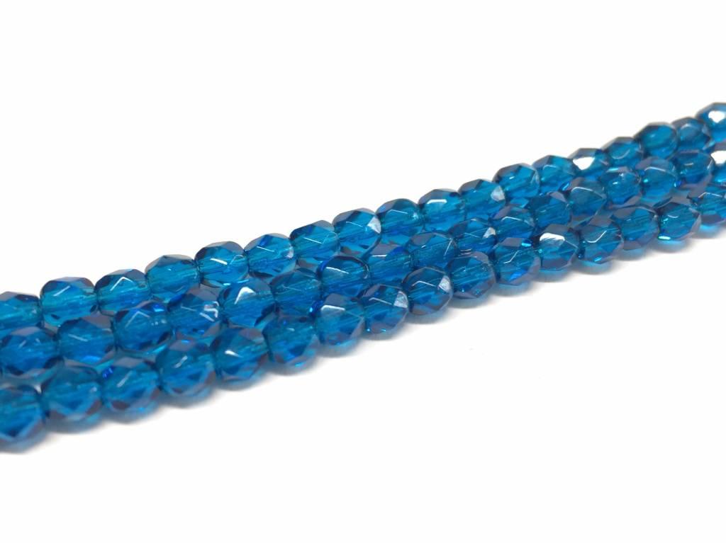 Glasschliffperlen feuerpoliert 4mm, Farbe 30 Capri Blue Dark