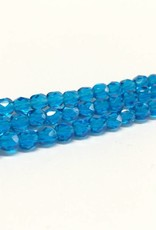 Glasschliffperlen feuerpoliert 4mm, Farbe 31 Capri Blue Medium