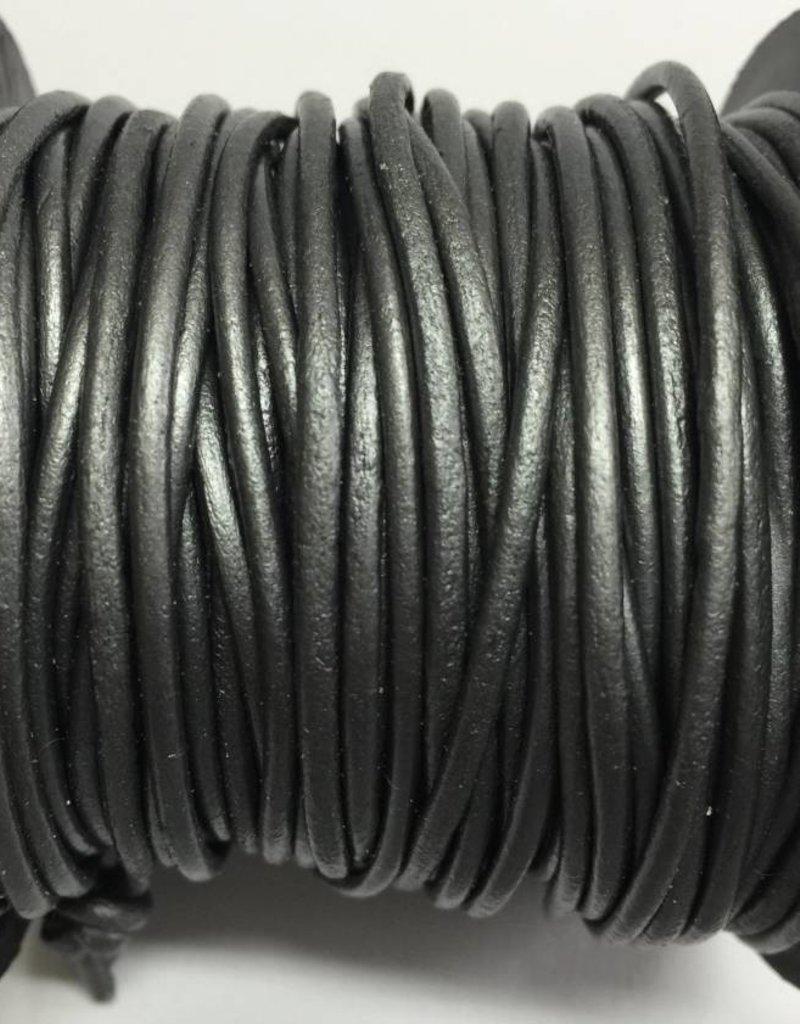 Lederkordel rund Ø 2 mm, metallic grey