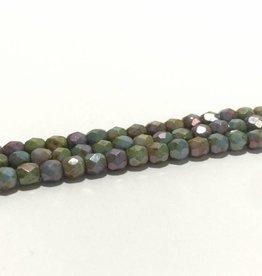 Glasschliffperlen feuerpoliert 4mm, Farbe 39 Green Lila Marble