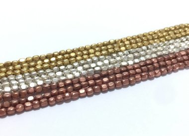 2 mm Square Brass Beads