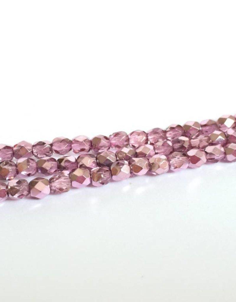 Glasschliffperlen feuerpoliert 4mm, Farbe 991 Pink Ice