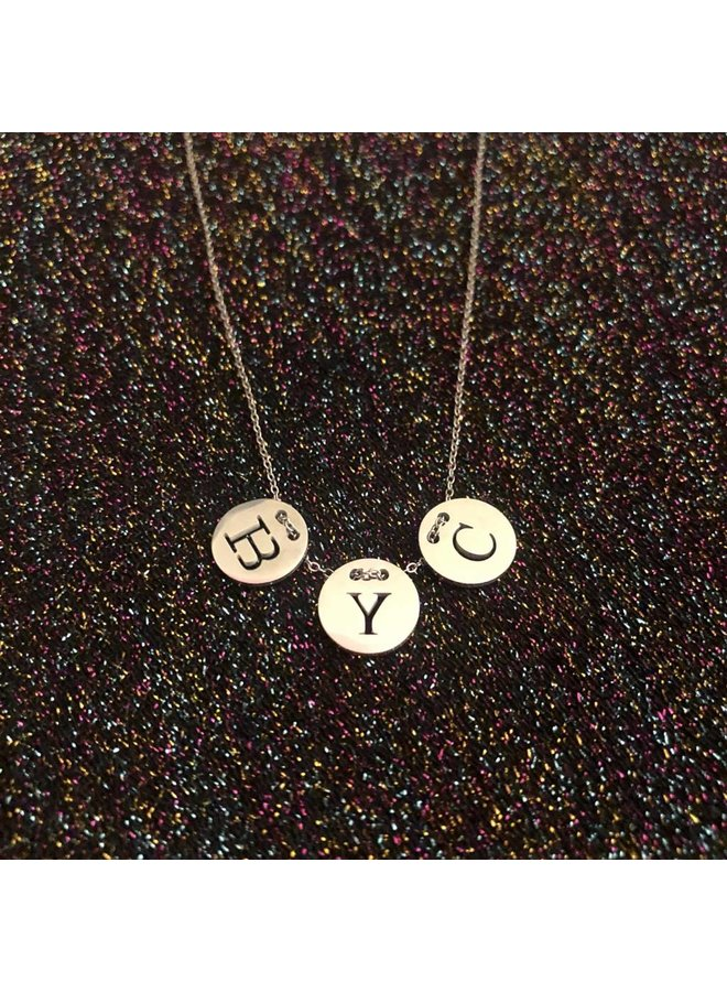 Three Initial Necklace silver