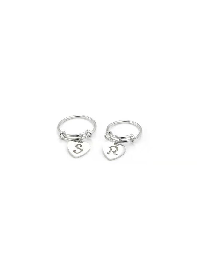 Initial Love Ring Silver