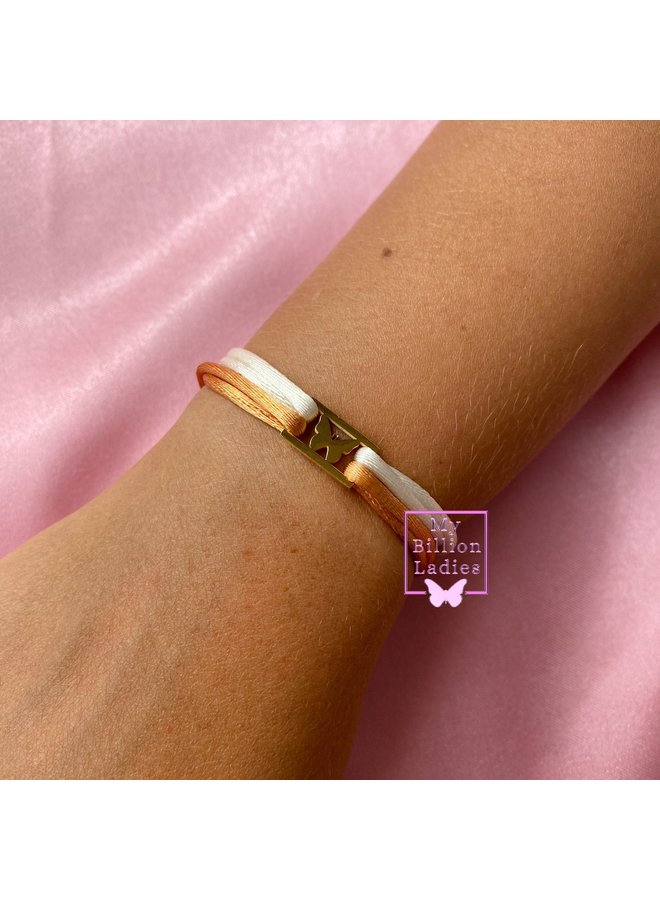 Butterfly Square two cords bracelet